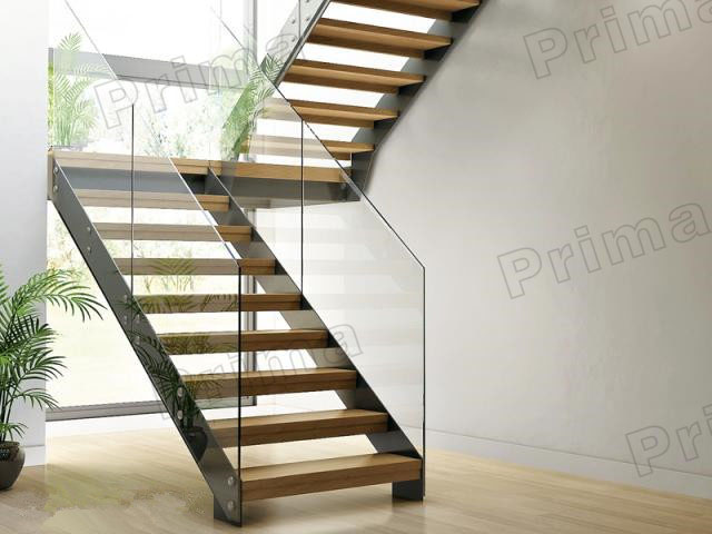 High Quality Glass Metal Straight Staircases / Glass Stairs / Metal Stairway / Wood  Stairway