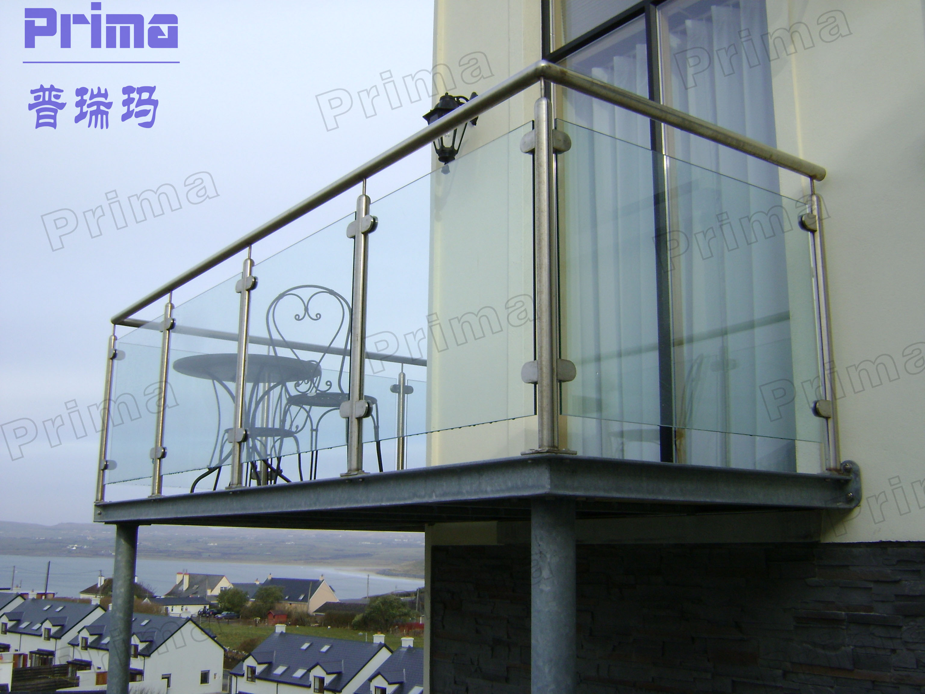 Customized stainless steel post glass panel balcony railing