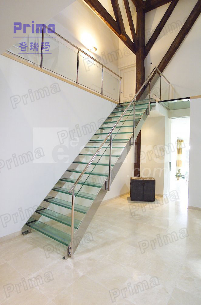 Stainless Steel Stair Railing Laminated Glass Staircase