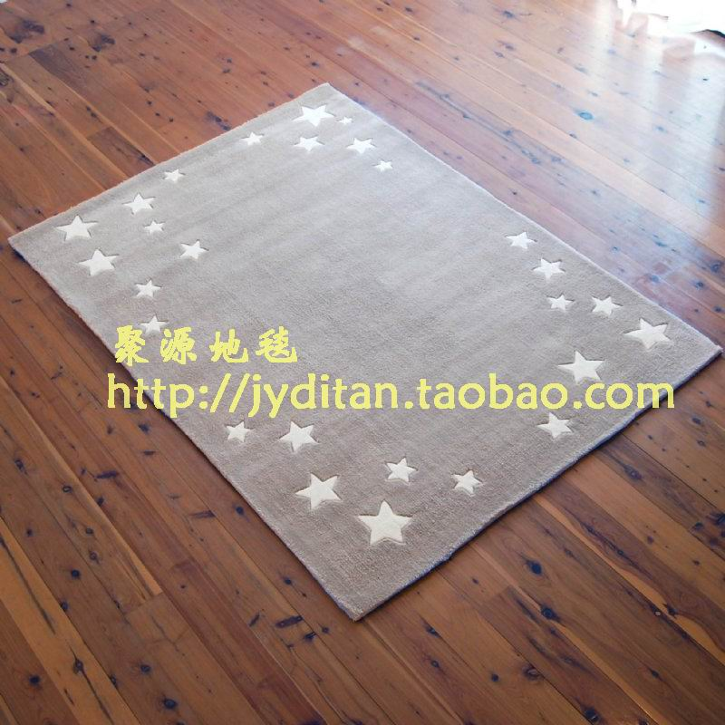 Hand Made Cut Pile Grey Star Area Rugs For Kids Carpet Manufacturer From China 101549400