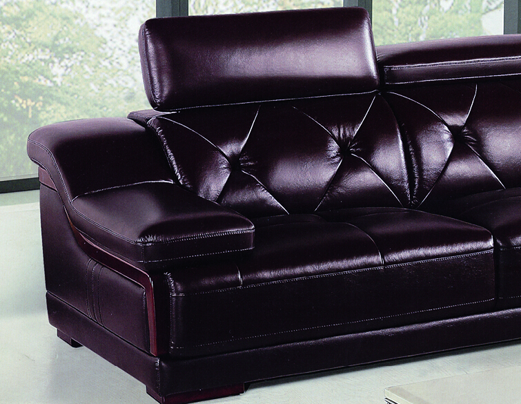 Itme:Deep Purple Living Room Leather Sofas Large Corner Sofas