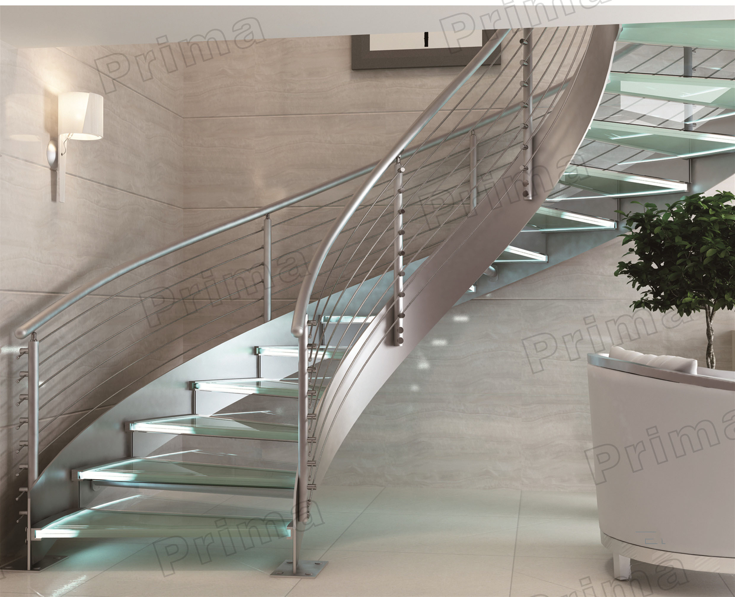 Charming Indoor Curved Glass Stairs / Stainless Steel Round Stairs Railing / Glass  Curved Stairs