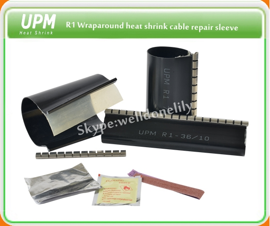 R wraparound heat shrinkable cable repair sleeve products