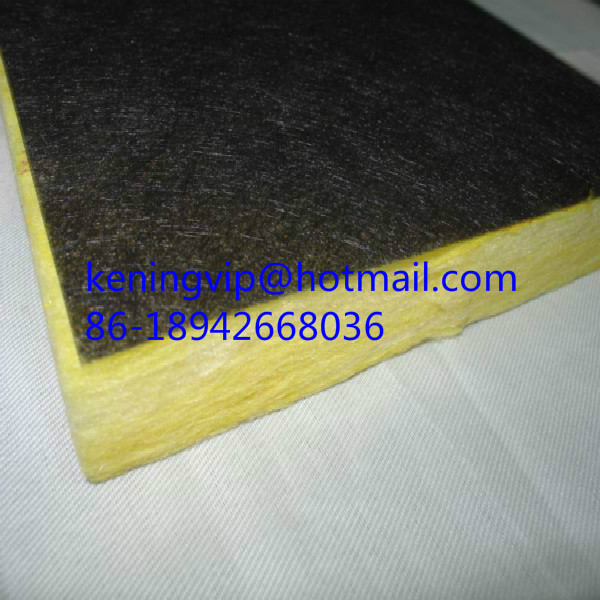 Fiberglass wool board with black backing felt on one side for Fiberglass wool insulation
