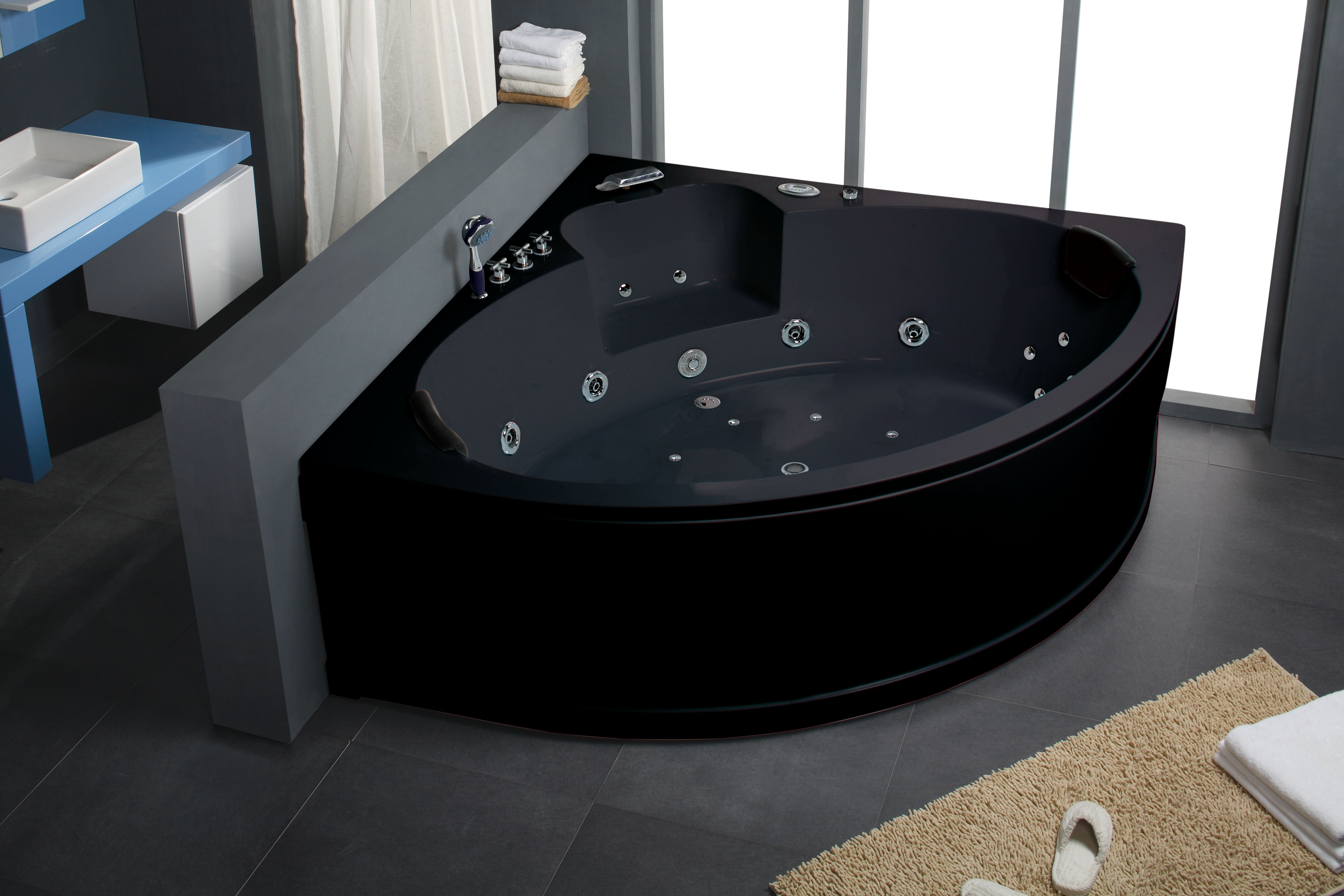 Indoor Corner Freestanding Bathtub Hydro Jets Black