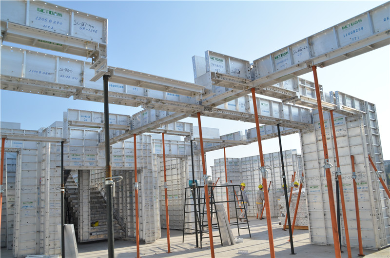 Aluminum Formwork Systems : Geto aluminum formwork system on site for construction