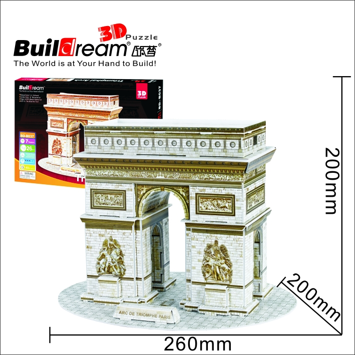 Buildream diy 3d puzzle triumphal arch france bd b037 for Arch decoration crossword clue