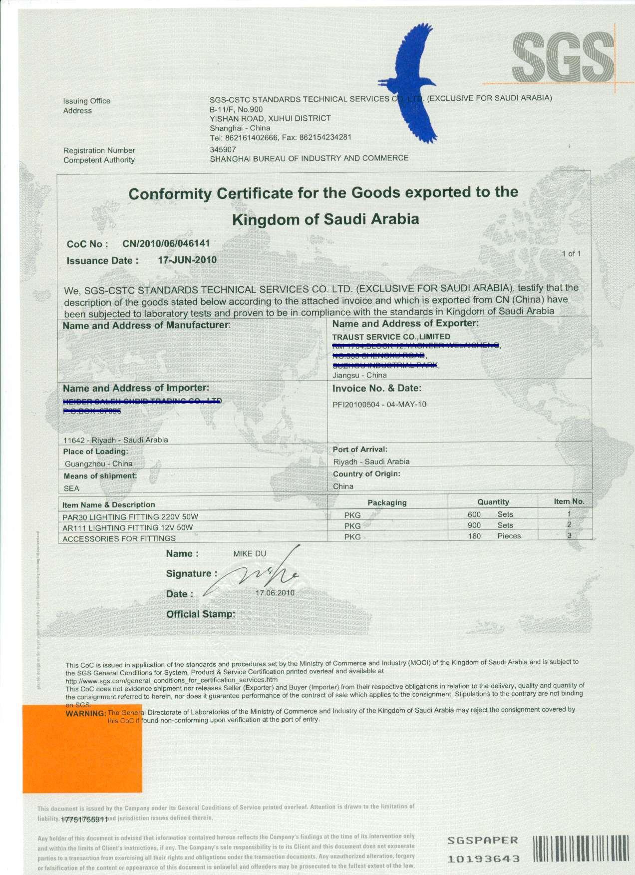 Provide Sgs Pre Shipment Inspectionsaudi Arabic Sasokuwait Tertir