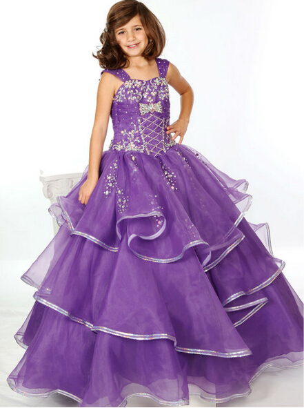 Pruple Organza and Rhinestones Floor Length Girls Pageant Dress ...