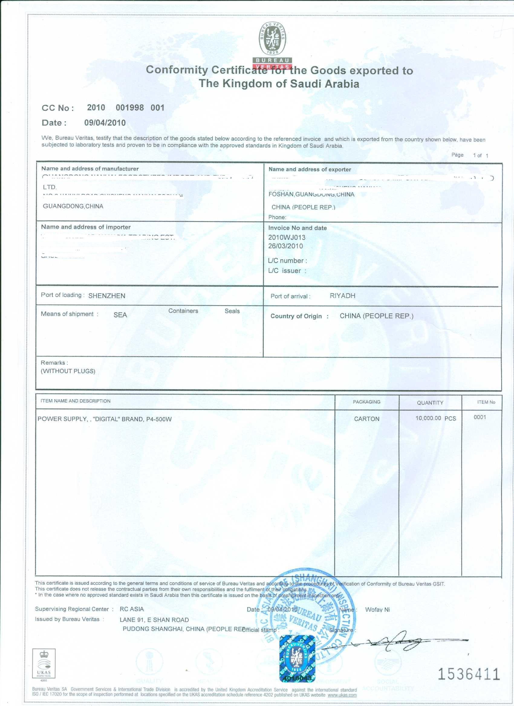 Provide Bv Pre Shipment Inspectioniraq Voccocsaudi Arabic Saso