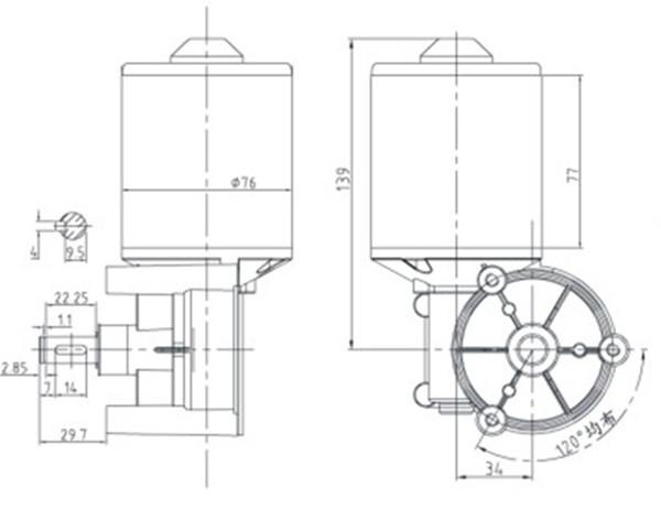 dc electric motor 12v d76r 72