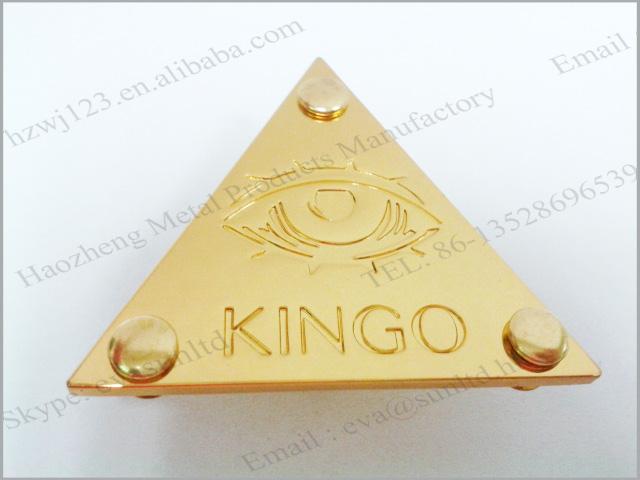 Gold Bag Hardware Custom Metal Label Logo For Handbag