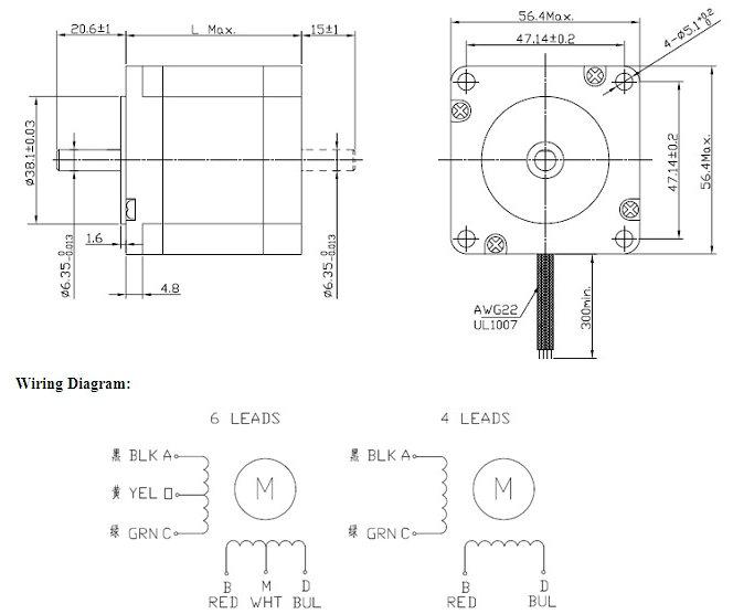 printer 4 wire 2 phase stepper motor ce square with nema